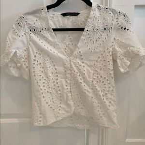 Zara White Eyelet Cropped Button Top Medium